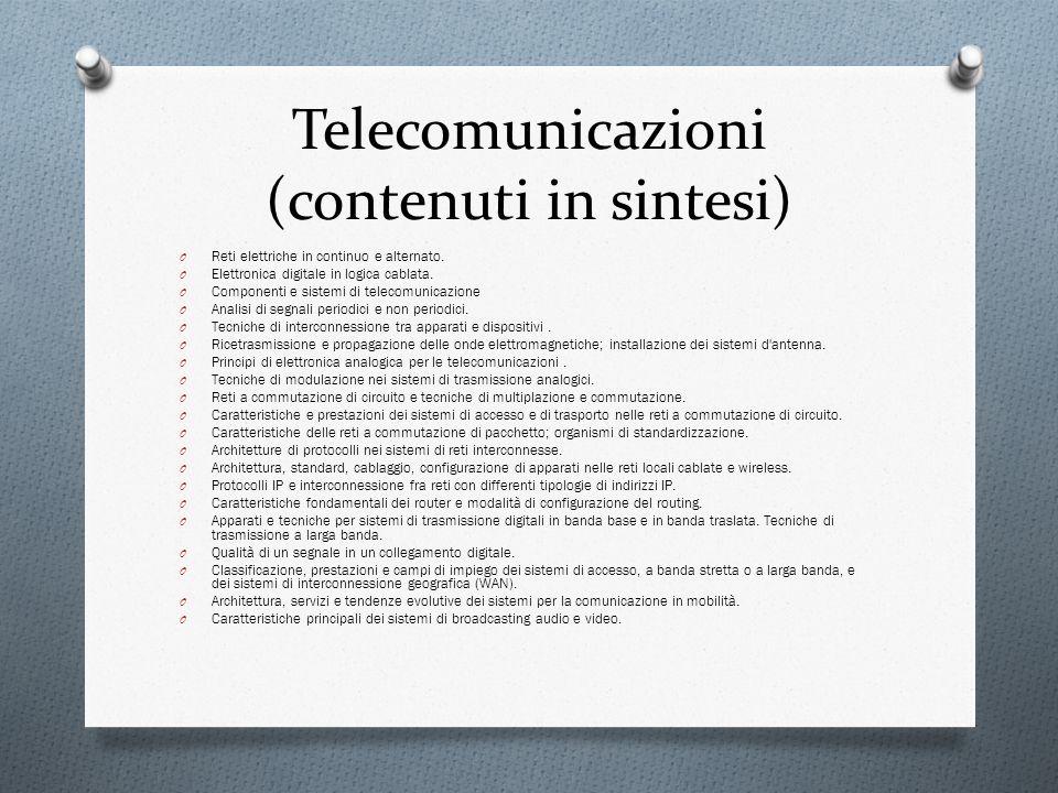 Telecomunicazioni (contenuti in sintesi) O Reti elettriche in continuo e alternato. O Elettronica digitale in logica cablata. O Componenti e sistemi d