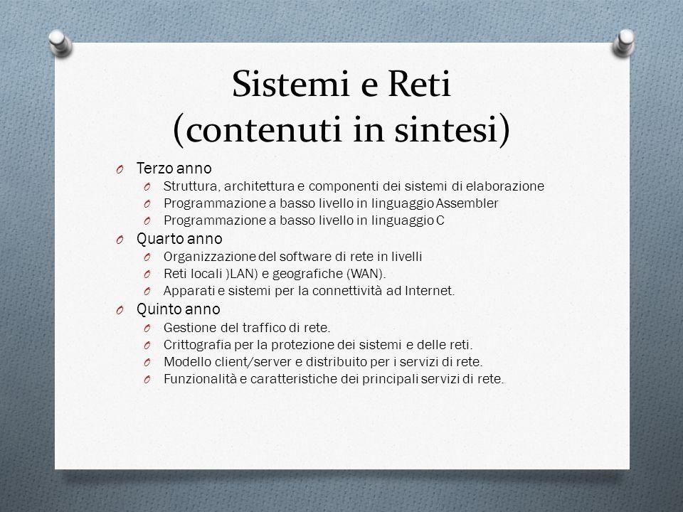 Sistemi e Reti (contenuti in sintesi) O Terzo anno O Struttura, architettura e componenti dei sistemi di elaborazione O Programmazione a basso livello