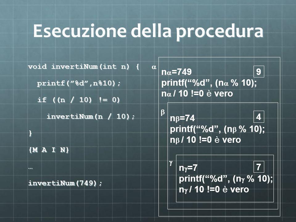 Esecuzione della procedura void invertiNum(int n) { printf(%d,n%10); printf(%d,n%10); if ((n / 10) != 0) if ((n / 10) != 0) invertiNum(n / 10); invert