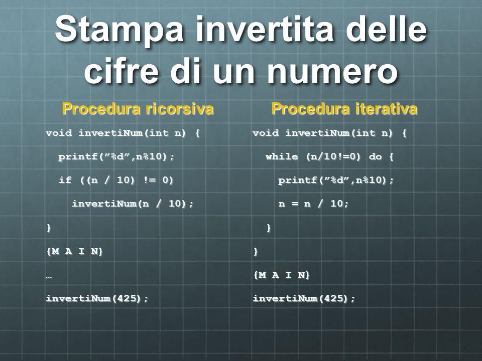 Stampa invertita delle cifre di un numero Procedura ricorsiva void invertiNum(int n) { printf(%d,n%10); printf(%d,n%10); if ((n / 10) != 0) if ((n / 1