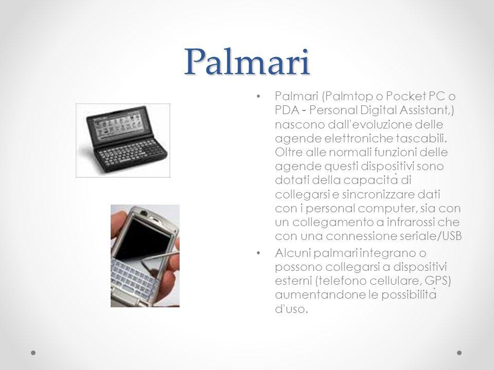 Palmari Palmari (Palmtop o Pocket PC o PDA - Personal Digital Assistant,) nascono dall'evoluzione delle agende elettroniche tascabili. Oltre alle norm