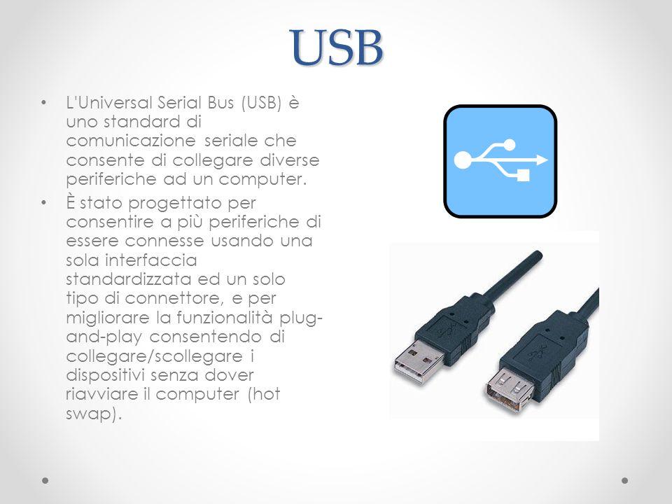 USB L'Universal Serial Bus (USB) è uno standard di comunicazione seriale che consente di collegare diverse periferiche ad un computer. È stato progett