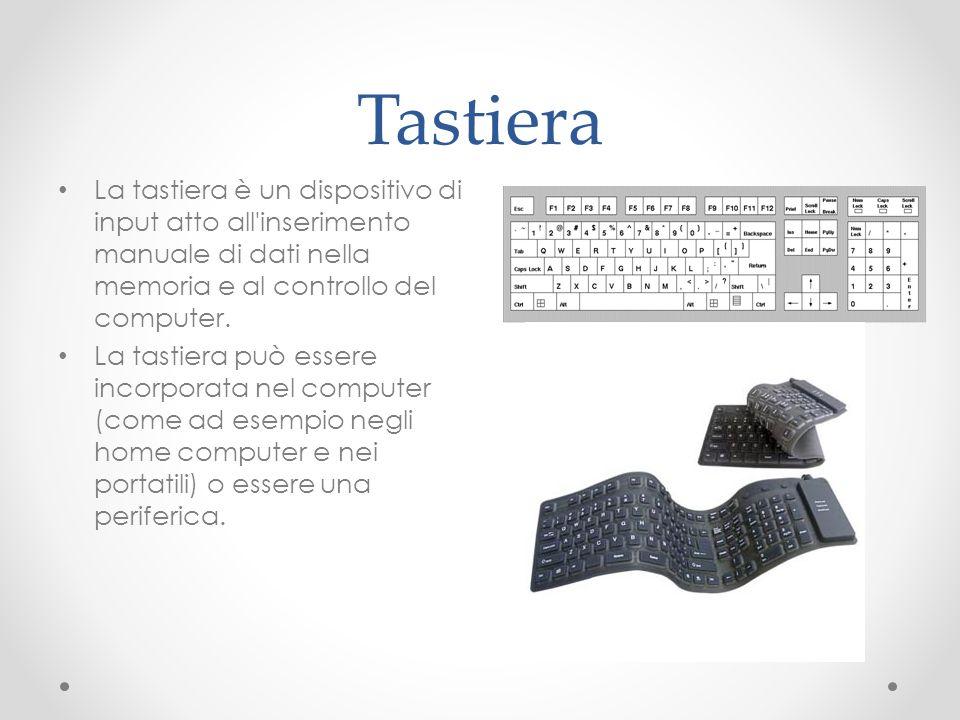Tastiera La tastiera è un dispositivo di input atto all'inserimento manuale di dati nella memoria e al controllo del computer. La tastiera può essere
