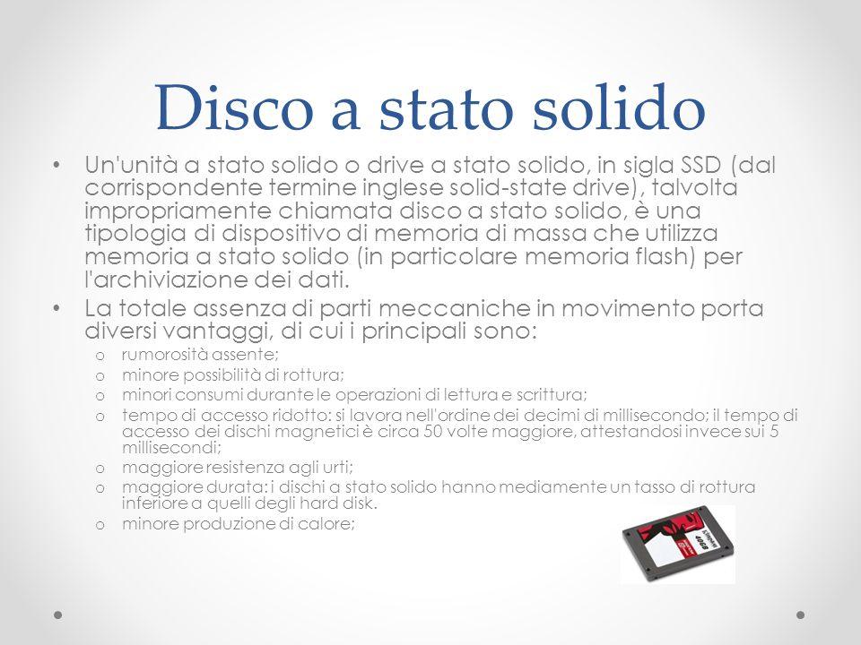 Disco a stato solido Un'unità a stato solido o drive a stato solido, in sigla SSD (dal corrispondente termine inglese solid-state drive), talvolta imp
