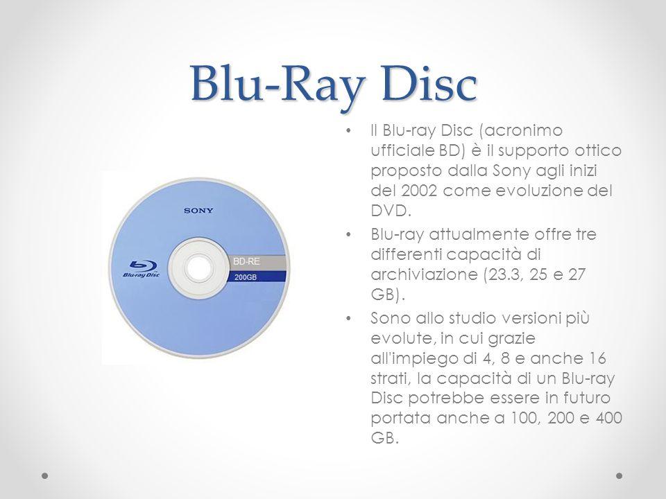 Blu-Ray Disc Il Blu-ray Disc (acronimo ufficiale BD) è il supporto ottico proposto dalla Sony agli inizi del 2002 come evoluzione del DVD. Blu-ray att