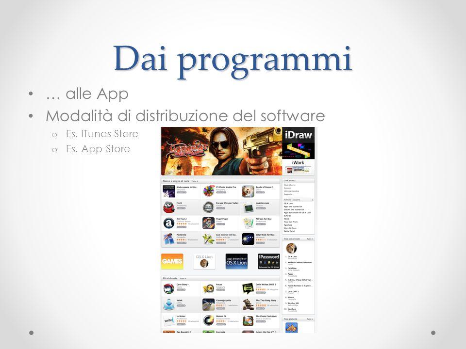 Dai programmi … alle App Modalità di distribuzione del software o Es. ITunes Store o Es. App Store