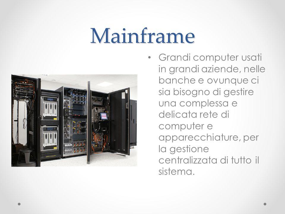 Mainframe Grandi computer usati in grandi aziende, nelle banche e ovunque ci sia bisogno di gestire una complessa e delicata rete di computer e appare