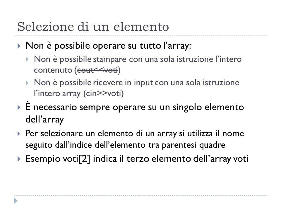 Selezione di un elemento Non è possibile operare su tutto larray: Non è possibile stampare con una sola istruzione lintero contenuto (cout<<voti) Non