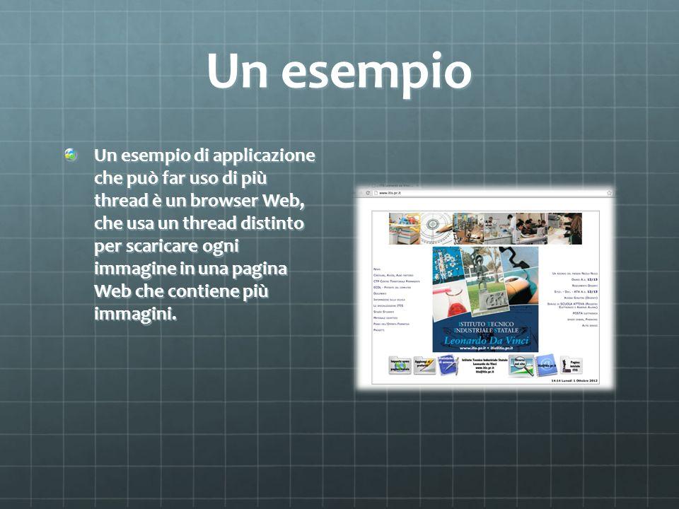 Un esempio Un esempio di applicazione che può far uso di più thread è un browser Web, che usa un thread distinto per scaricare ogni immagine in una pa