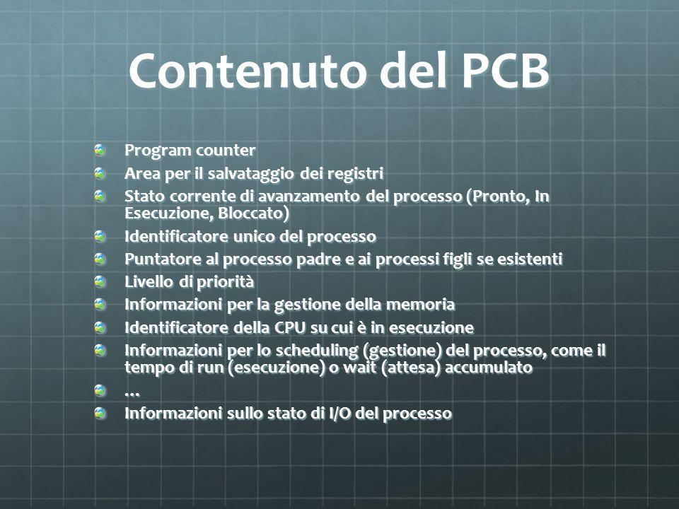 Contenuto del PCB Program counter Area per il salvataggio dei registri Stato corrente di avanzamento del processo (Pronto, In Esecuzione, Bloccato) Id