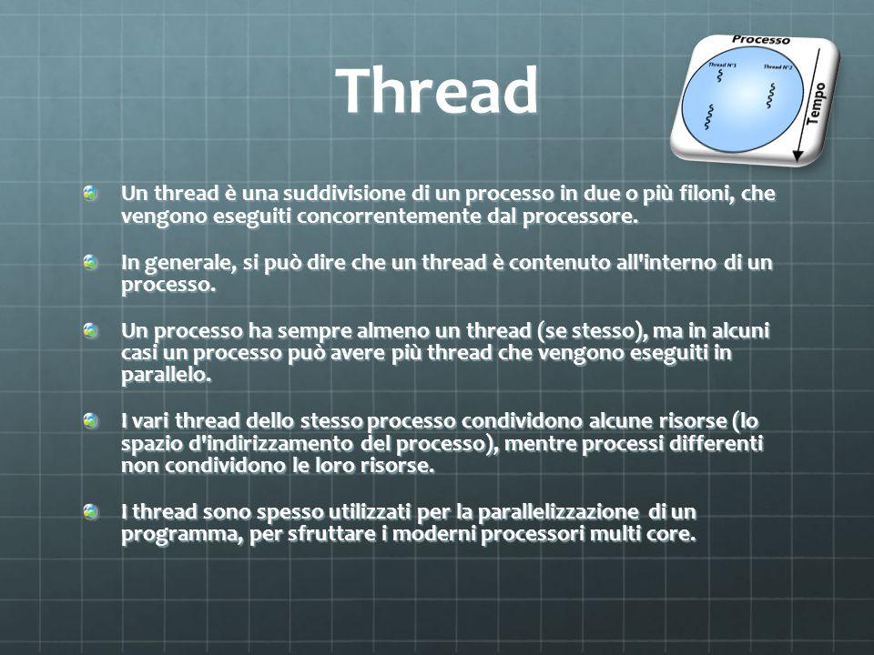Thread Un thread è una suddivisione di un processo in due o più filoni, che vengono eseguiti concorrentemente dal processore. In generale, si può dire