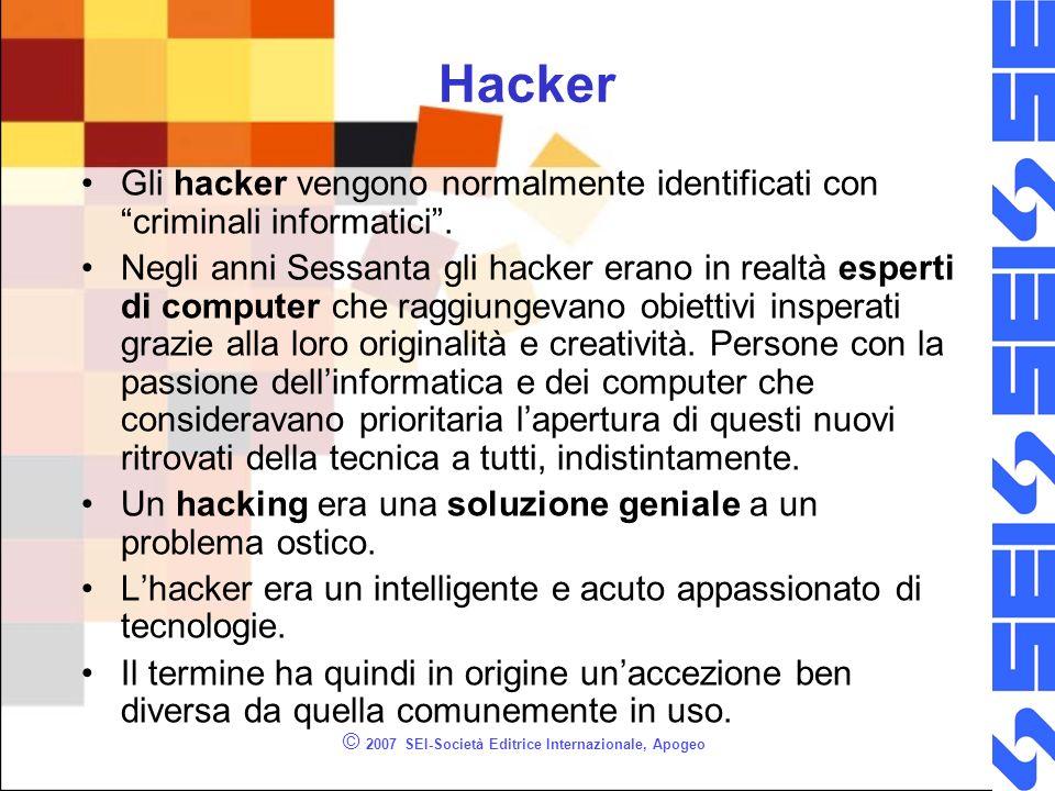 © 2007 SEI-Società Editrice Internazionale, Apogeo Hacker Gli hacker vengono normalmente identificati con criminali informatici. Negli anni Sessanta g