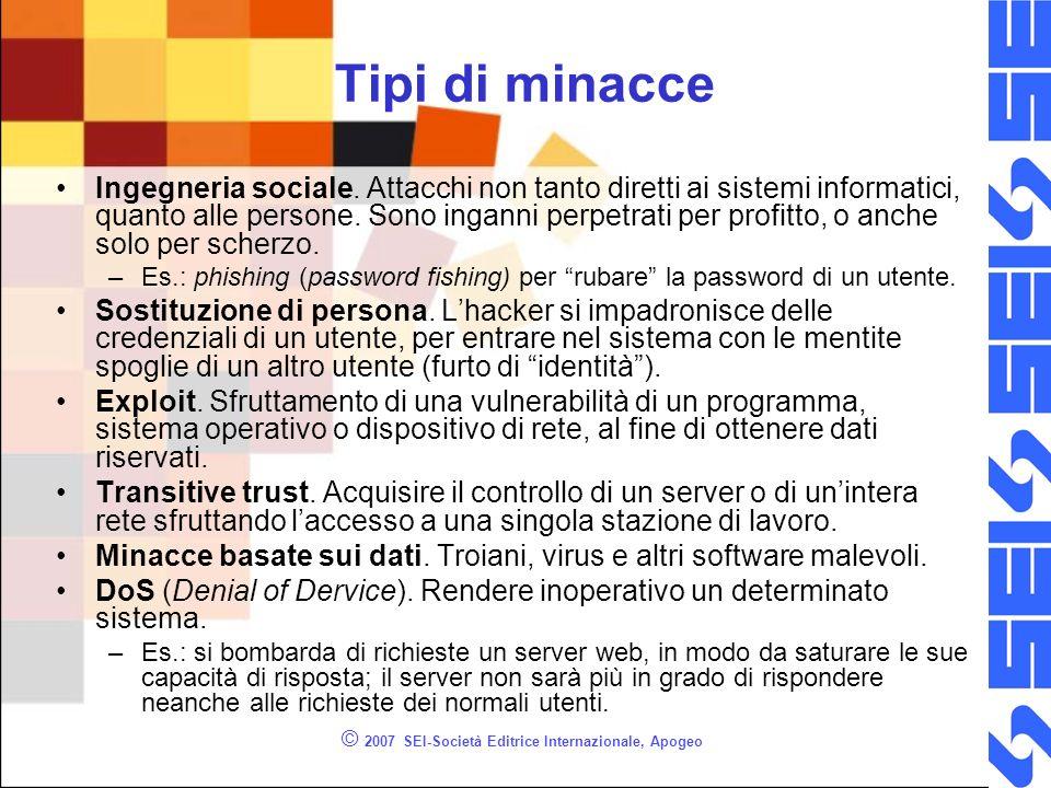 © 2007 SEI-Società Editrice Internazionale, Apogeo Tipi di minacce Ingegneria sociale. Attacchi non tanto diretti ai sistemi informatici, quanto alle