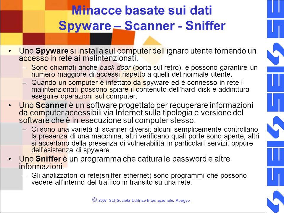 © 2007 SEI-Società Editrice Internazionale, Apogeo Minacce basate sui dati Spyware – Scanner - Sniffer Uno Spyware si installa sul computer dellignaro