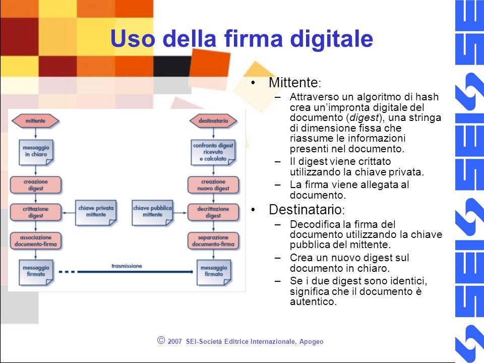 © 2007 SEI-Società Editrice Internazionale, Apogeo Uso della firma digitale Mittente : –Attraverso un algoritmo di hash crea unimpronta digitale del d