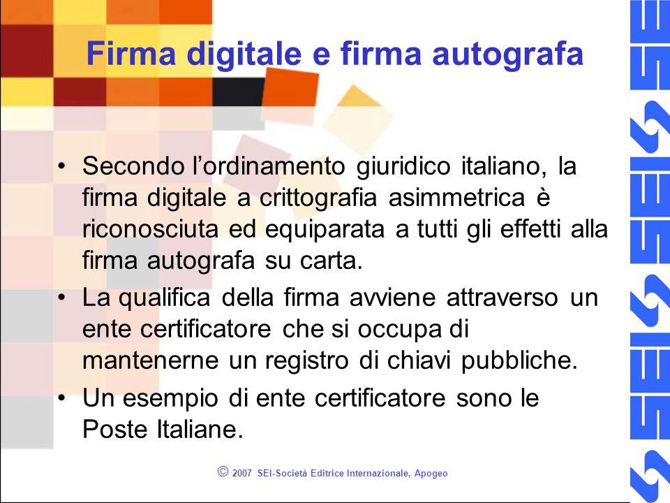 © 2007 SEI-Società Editrice Internazionale, Apogeo Firma digitale e firma autografa Secondo lordinamento giuridico italiano, la firma digitale a critt