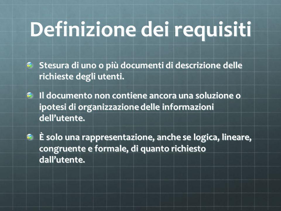 Progettazione concettuale Lo sviluppatore produce un documento di analisi che descrive come i requisiti richiesti potrebbero essere realizzati da un sistema software.