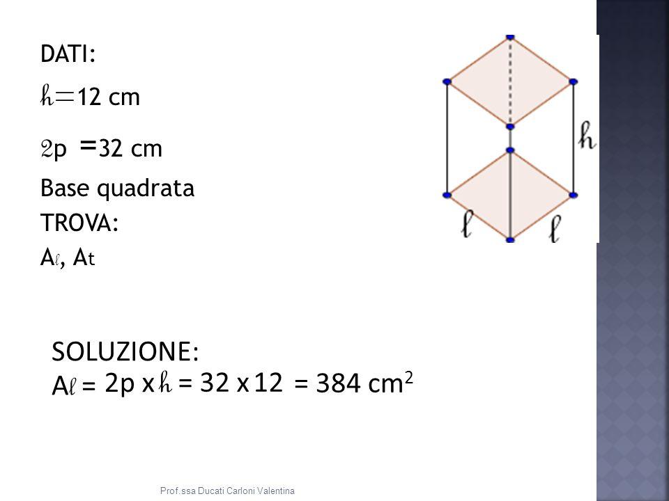 DATI: h= 12 cm 2 p = 32 cm Base quadrata TROVA: A l, A t SOLUZIONE: A l = 2p x h = 32 x 12 = 384 cm 2 Prof.ssa Ducati Carloni Valentina
