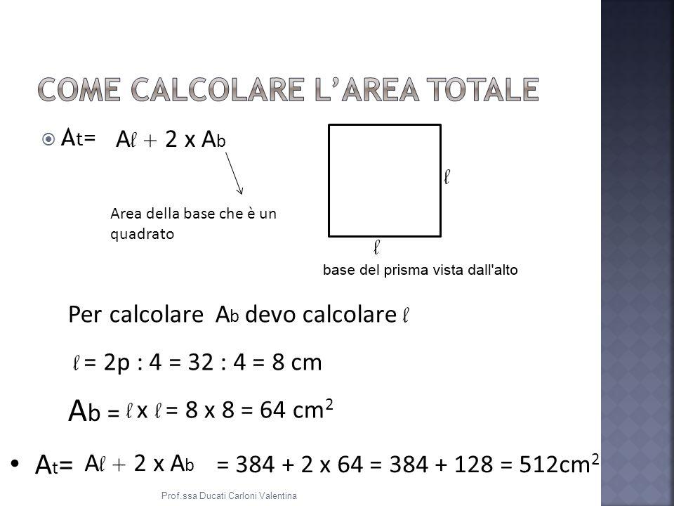 A t = A l + 2 x A b Area della base che è un quadrato Per calcolare A b devo calcolare l l = 2p : 4 = 32 : 4 = 8 cm A b = l x l = 8 x 8 = 64 cm 2 A t = A l + 2 x A b = 384 + 2 x 64 = 384 + 128 = 512cm 2 Prof.ssa Ducati Carloni Valentina