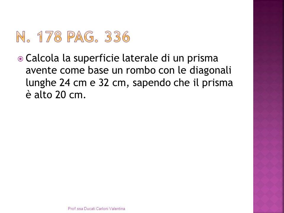 Calcola la superficie laterale di un prisma avente come base un rombo con le diagonali lunghe 24 cm e 32 cm, sapendo che il prisma è alto 20 cm.