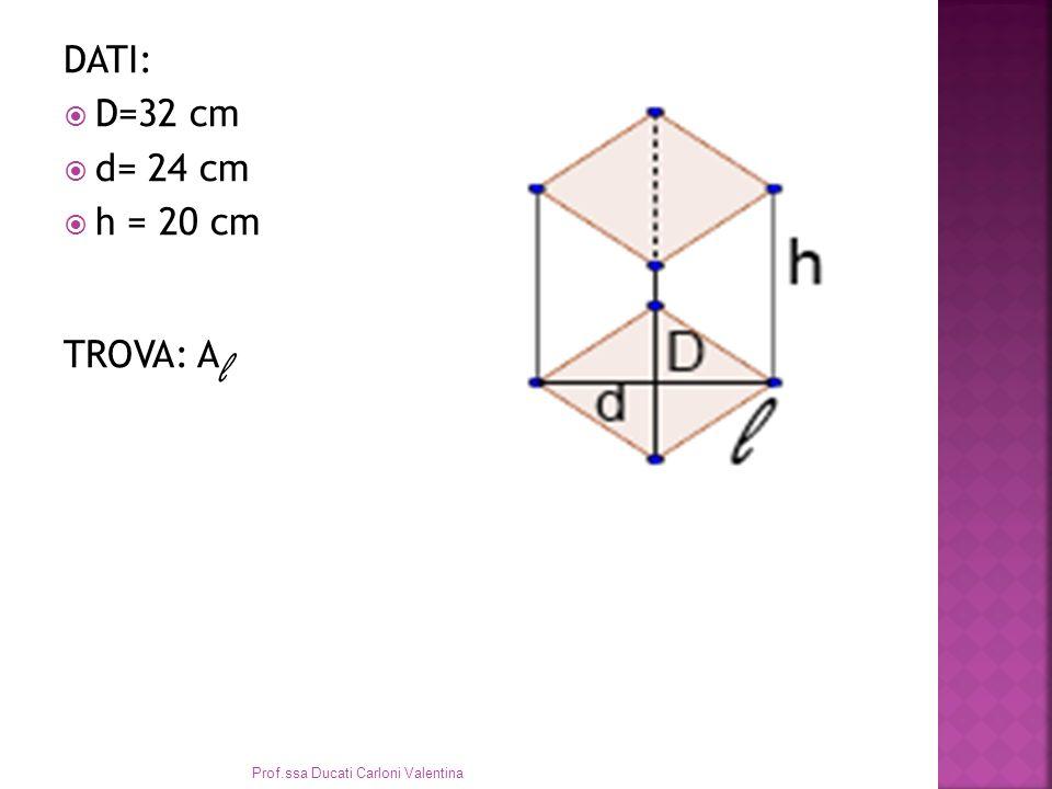 DATI: D=32 cm d= 24 cm h = 20 cm TROVA: A l Prof.ssa Ducati Carloni Valentina