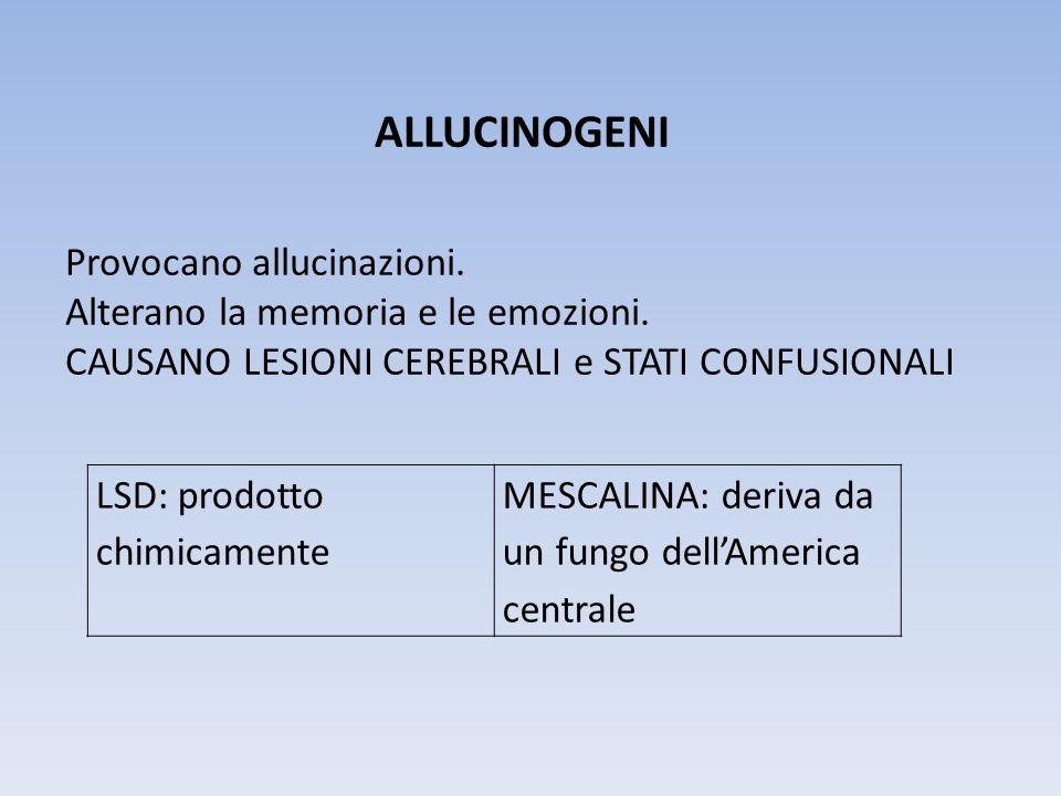 ALLUCINOGENI Provocano allucinazioni. Alterano la memoria e le emozioni. CAUSANO LESIONI CEREBRALI e STATI CONFUSIONALI LSD: prodotto chimicamente MES