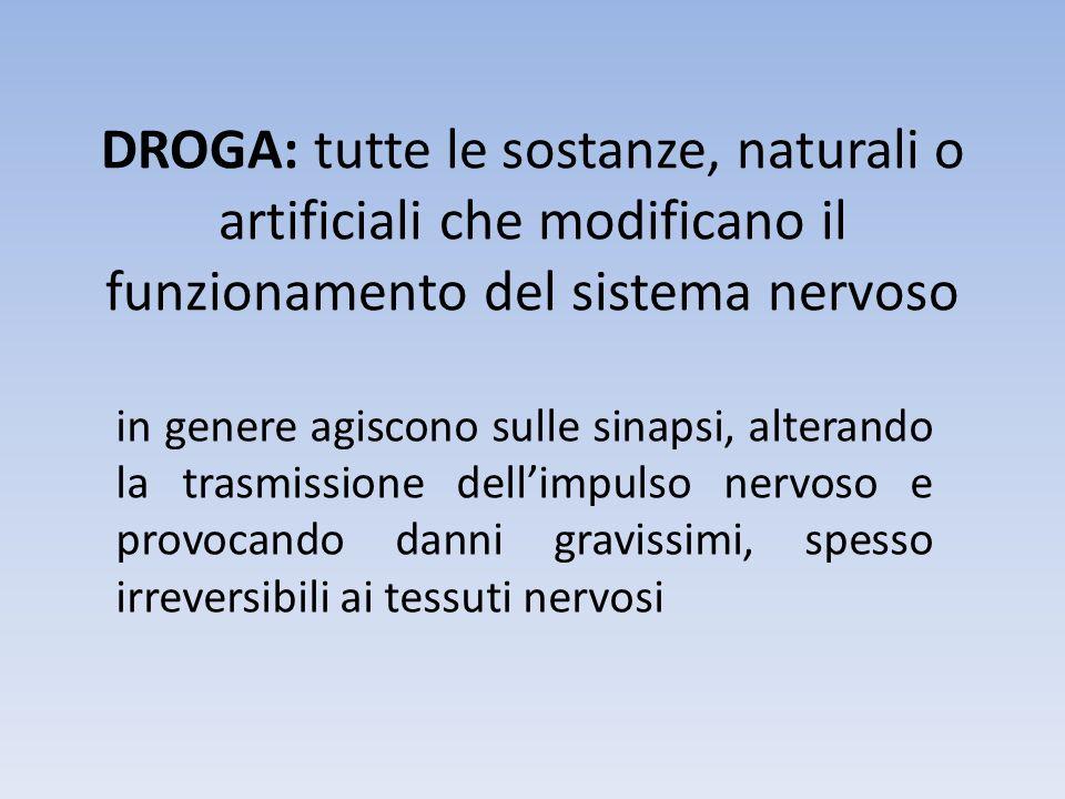 DROGA: tutte le sostanze, naturali o artificiali che modificano il funzionamento del sistema nervoso in genere agiscono sulle sinapsi, alterando la tr