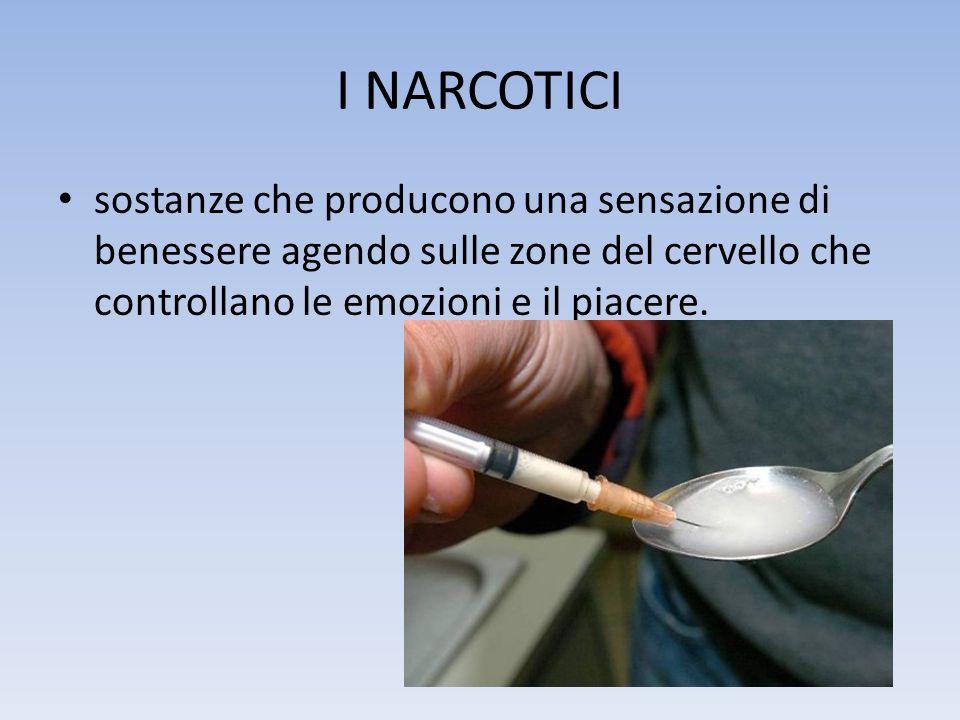 I NARCOTICI sostanze che producono una sensazione di benessere agendo sulle zone del cervello che controllano le emozioni e il piacere.