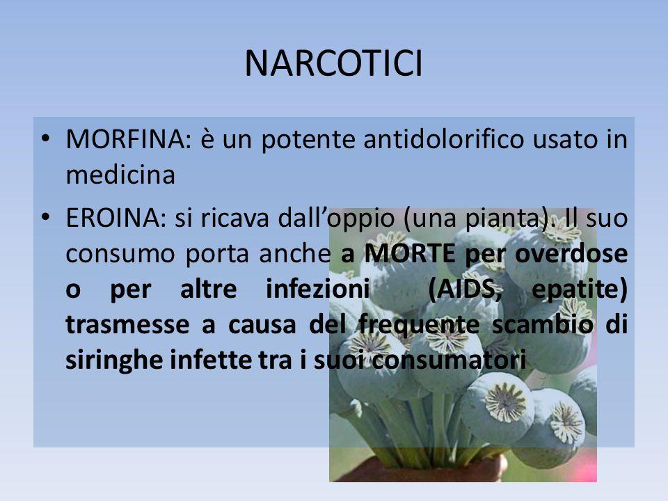 NARCOTICI MORFINA: è un potente antidolorifico usato in medicina EROINA: si ricava dalloppio (una pianta). Il suo consumo porta anche a MORTE per over