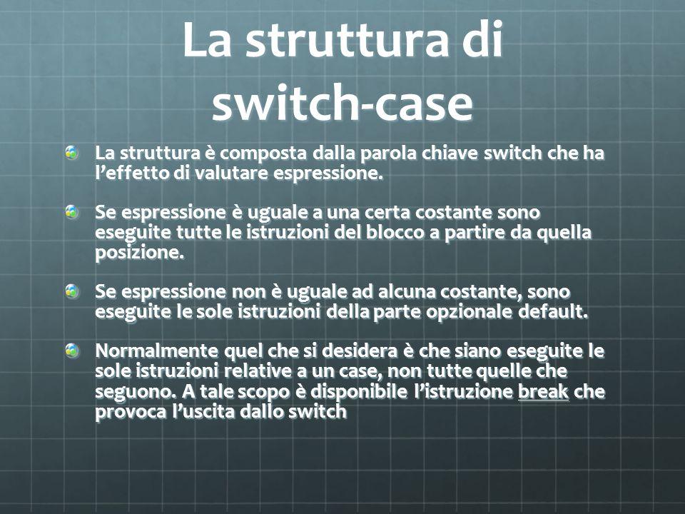 La struttura di switch-case La struttura è composta dalla parola chiave switch che ha leffetto di valutare espressione.