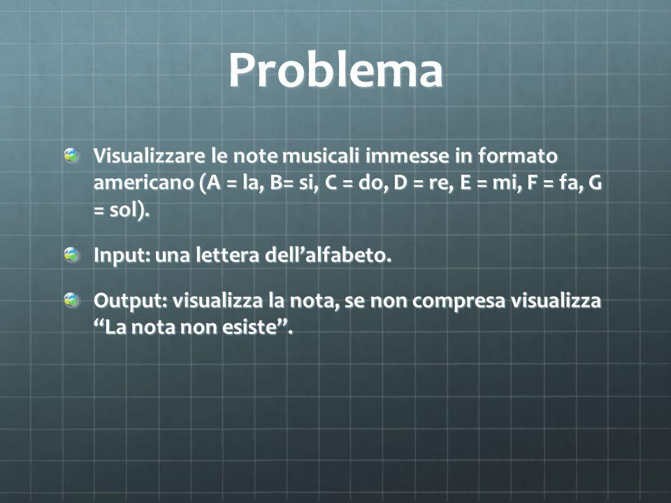 Problema Visualizzare le note musicali immesse in formato americano (A = la, B= si, C = do, D = re, E = mi, F = fa, G = sol).