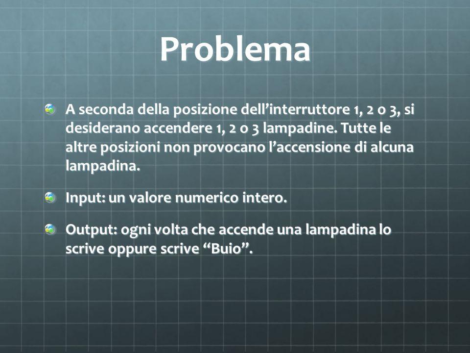 Problema A seconda della posizione dellinterruttore 1, 2 o 3, si desiderano accendere 1, 2 o 3 lampadine.