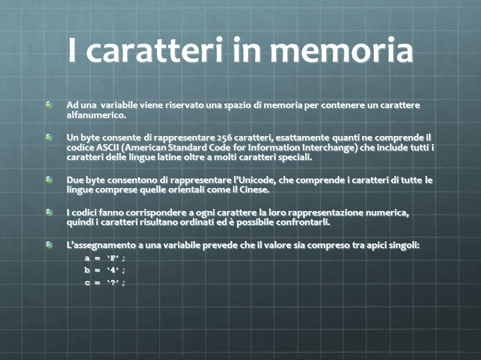 I caratteri in memoria Ad una variabile viene riservato una spazio di memoria per contenere un carattere alfanumerico.