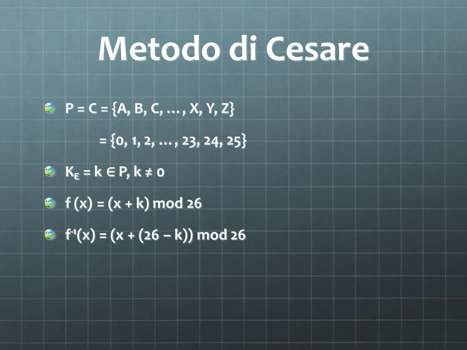 Metodo di Cesare P = C = {A, B, C, …, X, Y, Z} = {0, 1, 2, …, 23, 24, 25} = {0, 1, 2, …, 23, 24, 25} K E = k P, k 0 f (x) = (x + k) mod 26 f -1 (x) =