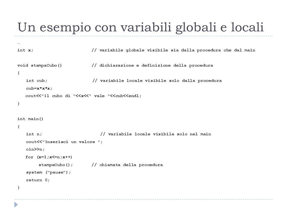 Un esempio con variabili globali e locali … int x; // variabile globale visibile sia dalla procedura che dal main void stampaCubo() // dichiarazione e