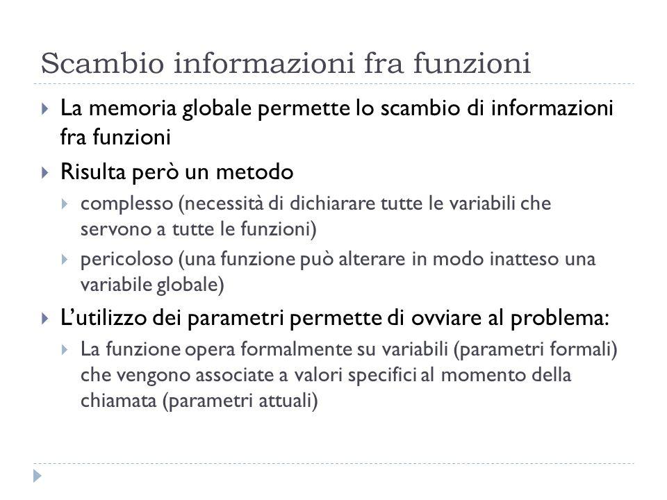 Scambio informazioni fra funzioni La memoria globale permette lo scambio di informazioni fra funzioni Risulta però un metodo complesso (necessità di d