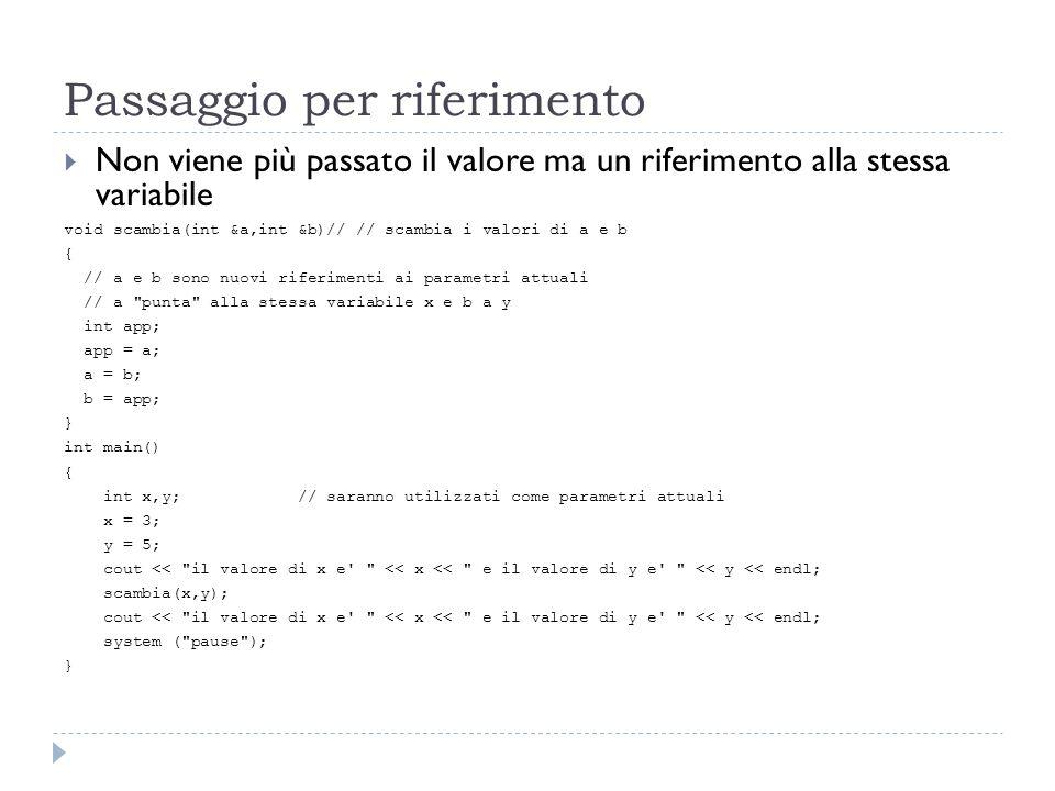 Passaggio per riferimento Non viene più passato il valore ma un riferimento alla stessa variabile void scambia(int &a,int &b)// // scambia i valori di