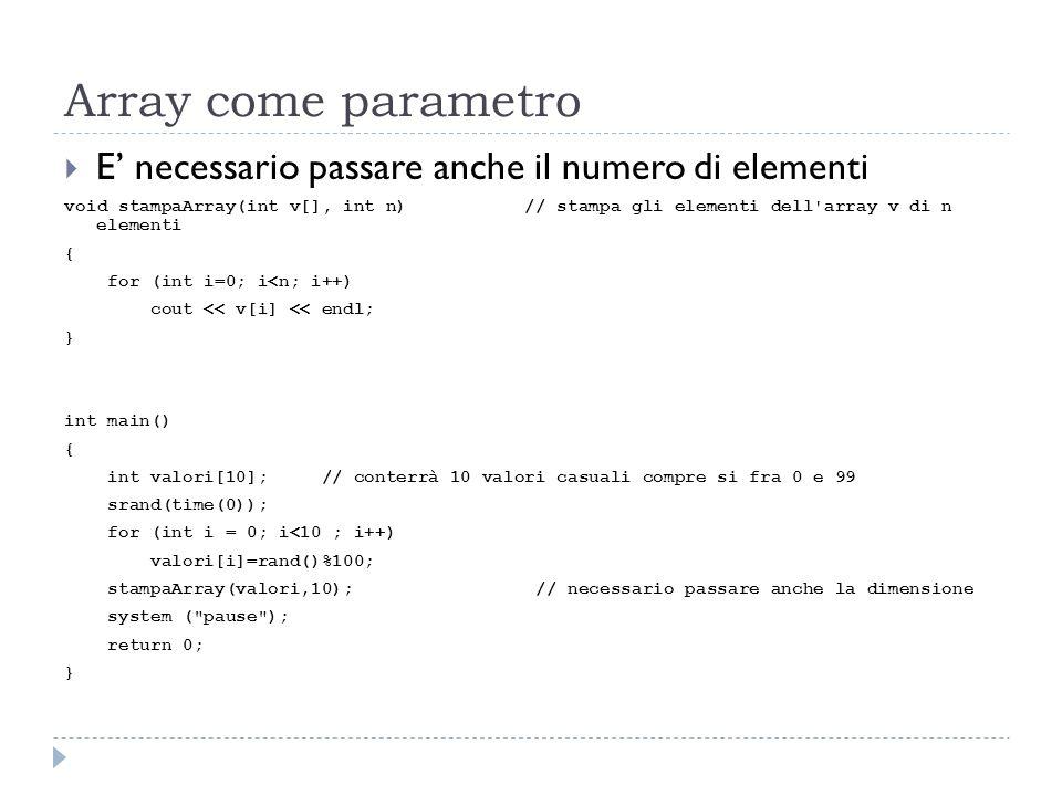 Array come parametro E necessario passare anche il numero di elementi void stampaArray(int v[], int n) // stampa gli elementi dell'array v di n elemen