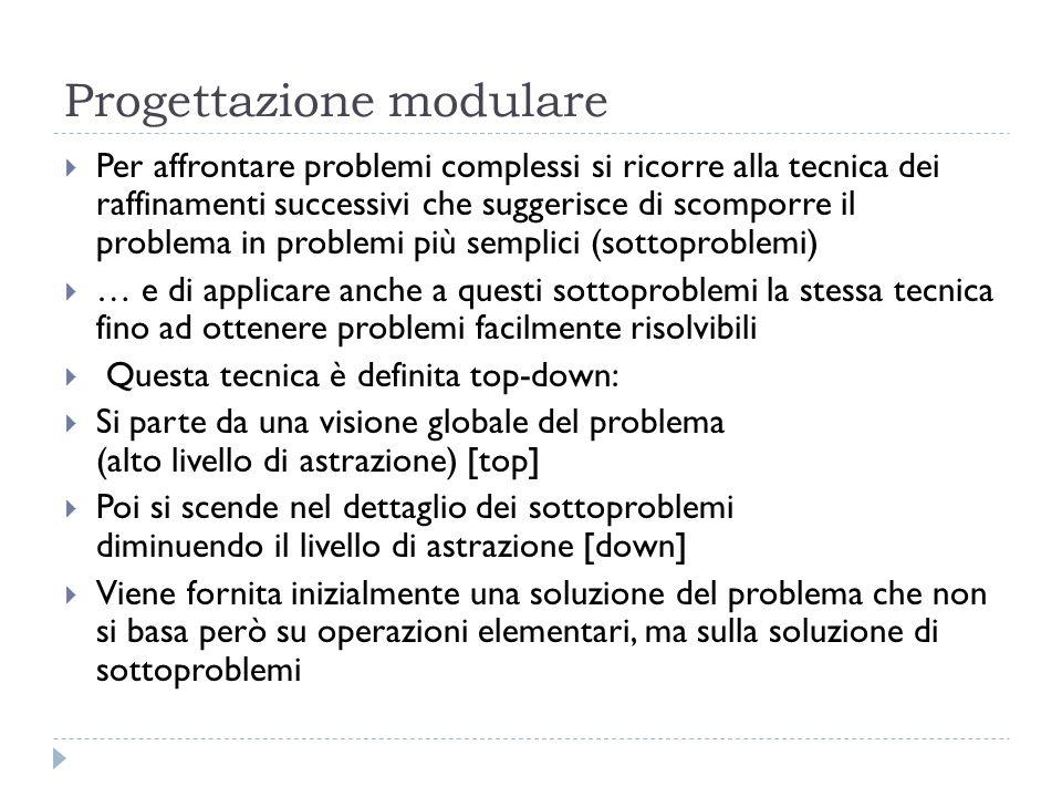 Progettazione modulare Per affrontare problemi complessi si ricorre alla tecnica dei raffinamenti successivi che suggerisce di scomporre il problema i