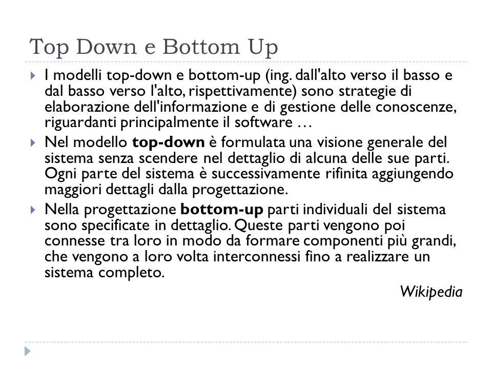 Top Down e Bottom Up I modelli top-down e bottom-up (ing. dall'alto verso il basso e dal basso verso l'alto, rispettivamente) sono strategie di elabor
