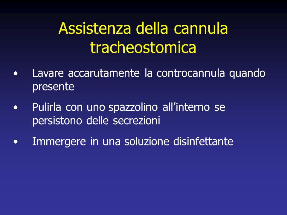 Assistenza della cannula tracheostomica Lavare accarutamente la controcannula quando presente Pulirla con uno spazzolino allinterno se persistono delle secrezioni Immergere in una soluzione disinfettante