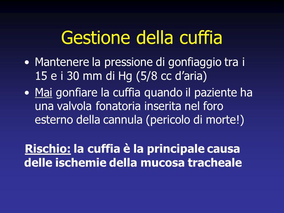 Gestione della cuffia Mantenere la pressione di gonfiaggio tra i 15 e i 30 mm di Hg (5/8 cc daria) Mai gonfiare la cuffia quando il paziente ha una valvola fonatoria inserita nel foro esterno della cannula (pericolo di morte!) Rischio: la cuffia è la principale causa delle ischemie della mucosa tracheale