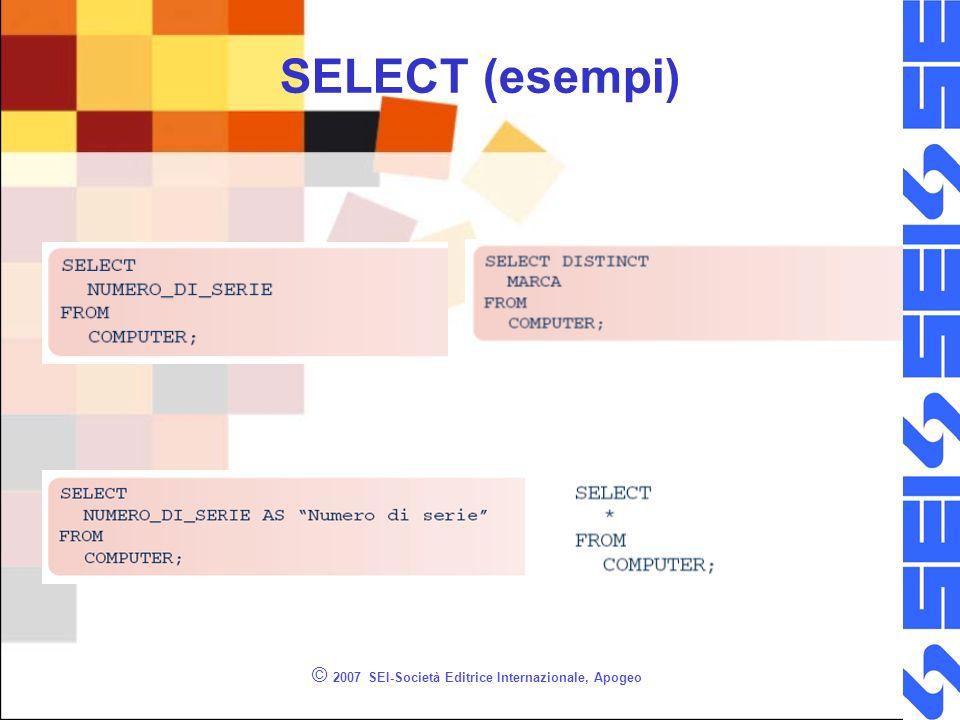 © 2007 SEI-Società Editrice Internazionale, Apogeo SELECT (esempi)