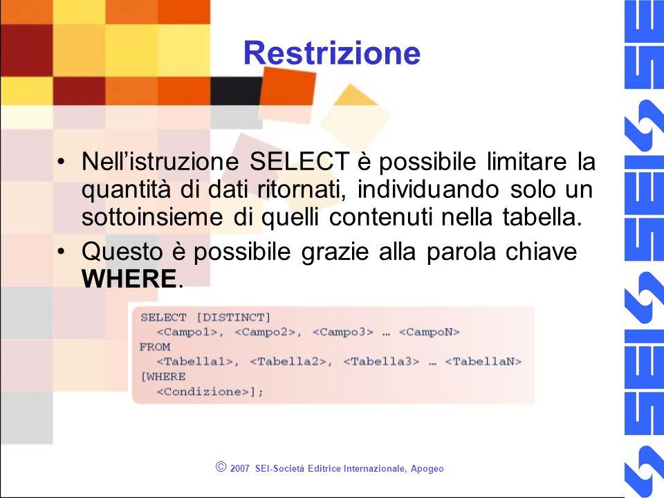 © 2007 SEI-Società Editrice Internazionale, Apogeo Restrizione Nellistruzione SELECT è possibile limitare la quantità di dati ritornati, individuando