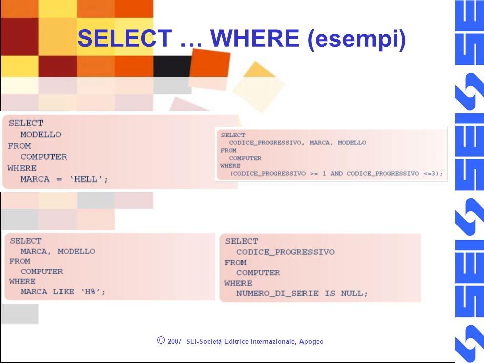 © 2007 SEI-Società Editrice Internazionale, Apogeo SELECT … WHERE (esempi)