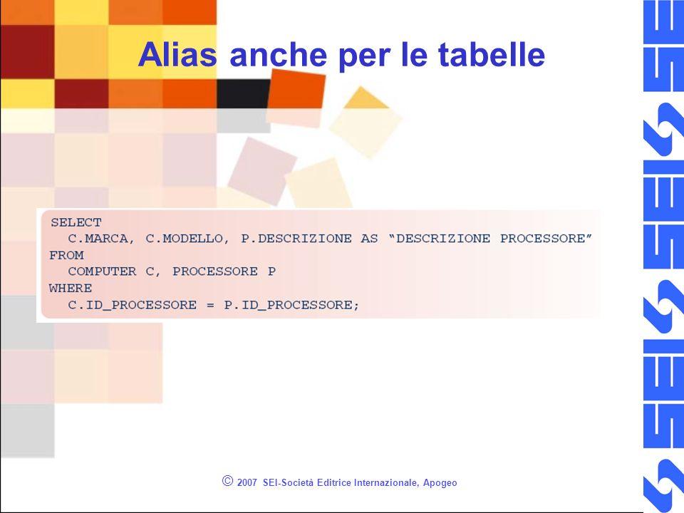 © 2007 SEI-Società Editrice Internazionale, Apogeo Alias anche per le tabelle