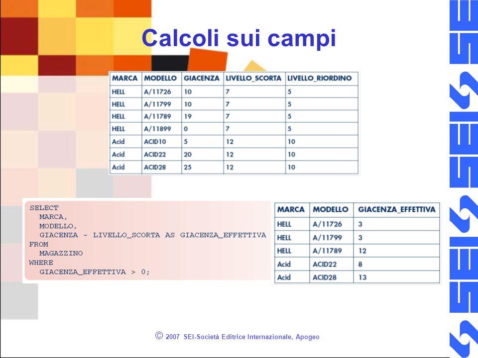 © 2007 SEI-Società Editrice Internazionale, Apogeo Calcoli sui campi