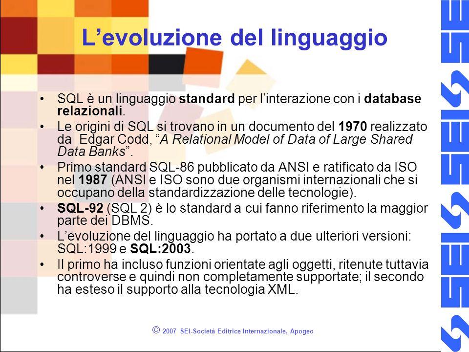 © 2007 SEI-Società Editrice Internazionale, Apogeo Levoluzione del linguaggio SQL è un linguaggio standard per linterazione con i database relazionali.