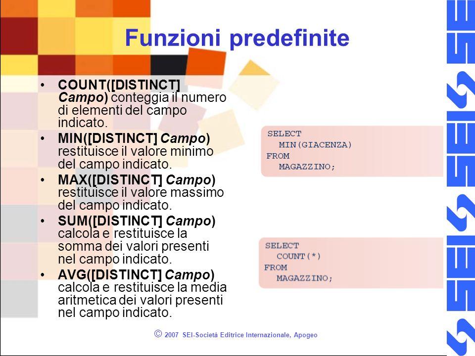 © 2007 SEI-Società Editrice Internazionale, Apogeo Funzioni predefinite COUNT([DISTINCT] Campo) conteggia il numero di elementi del campo indicato.