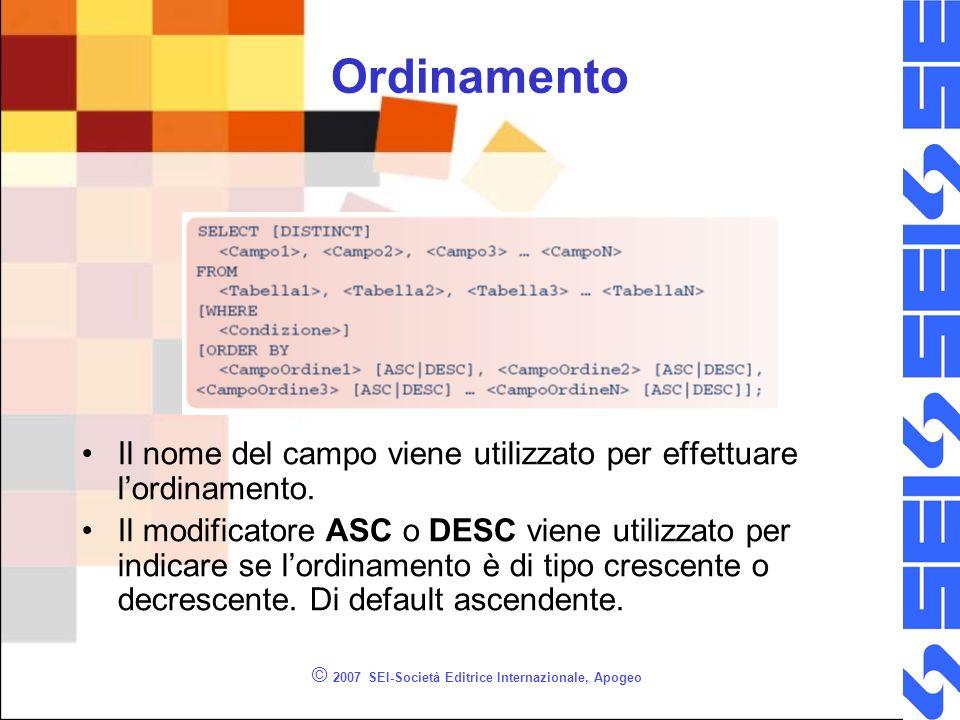 © 2007 SEI-Società Editrice Internazionale, Apogeo Ordinamento Il nome del campo viene utilizzato per effettuare lordinamento. Il modificatore ASC o D